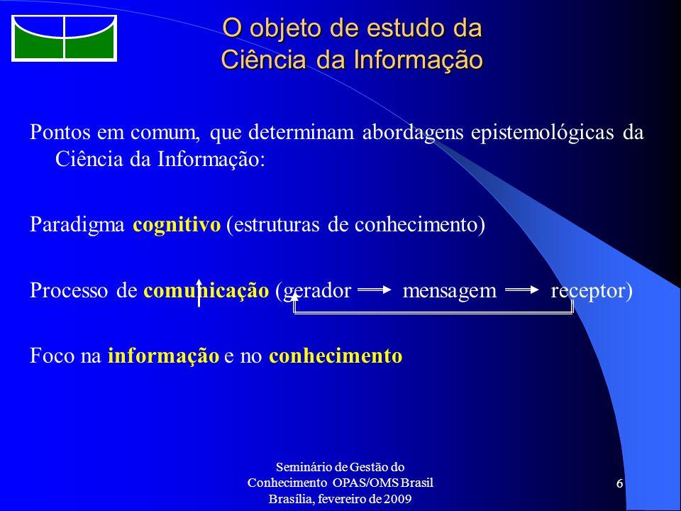 Seminário de Gestão do Conhecimento OPAS/OMS Brasil Brasília, fevereiro de 2009 6 O objeto de estudo da Ciência da Informação Pontos em comum, que det