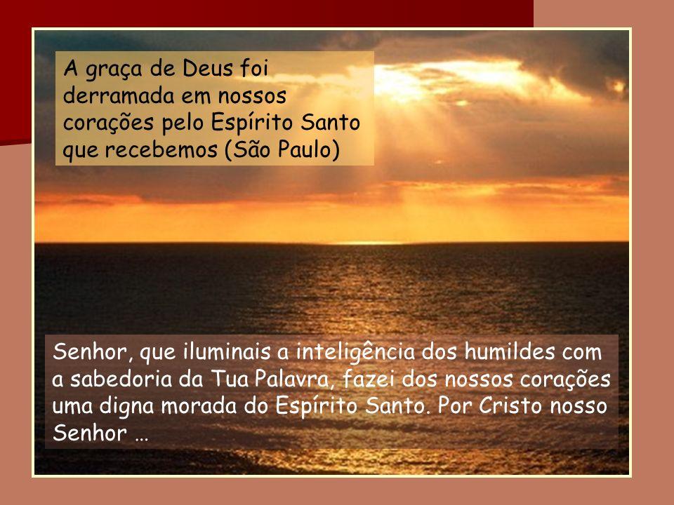 Senhor, que iluminais a inteligência dos humildes com a sabedoria da Tua Palavra, fazei dos nossos corações uma digna morada do Espírito Santo. Por Cr