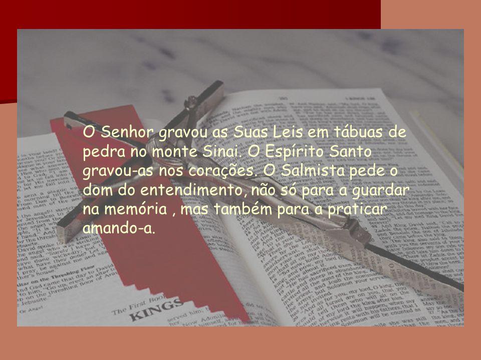 O Senhor gravou as Suas Leis em tábuas de pedra no monte Sinai. O Espírito Santo gravou-as nos corações. O Salmista pede o dom do entendimento, não só