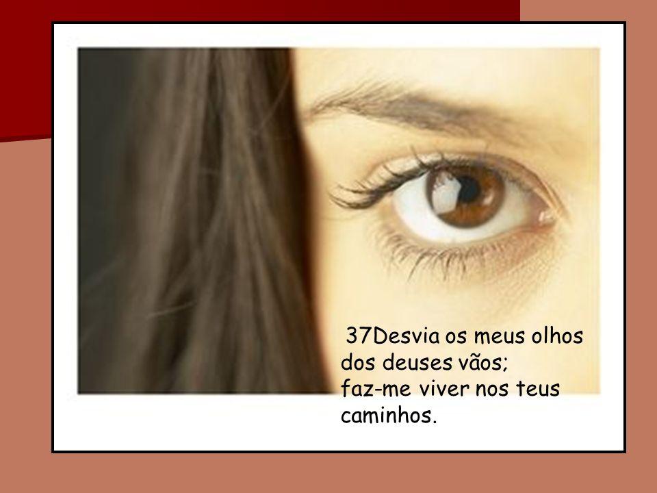 37Desvia os meus olhos dos deuses vãos; faz-me viver nos teus caminhos.