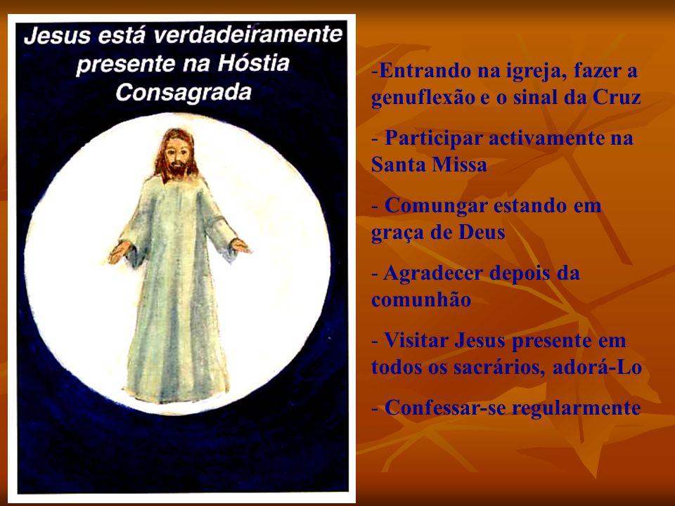 -Entrando na igreja, fazer a genuflexão e o sinal da Cruz - Participar activamente na Santa Missa - Comungar estando em graça de Deus - Agradecer depo