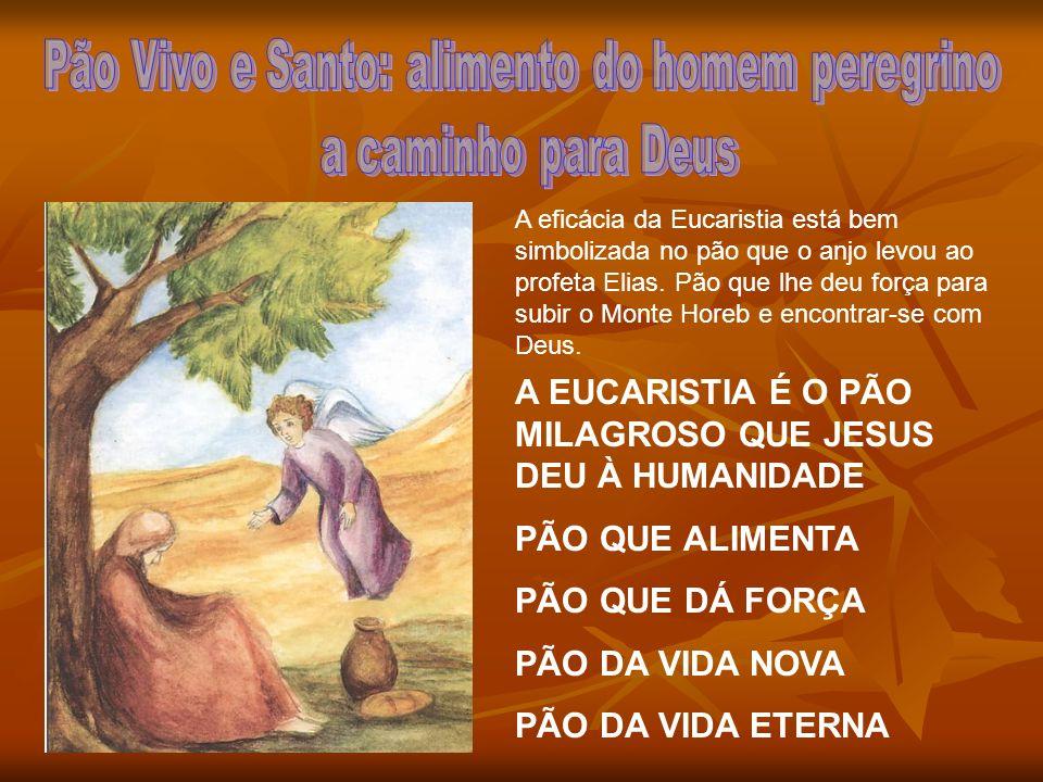 A eficácia da Eucaristia está bem simbolizada no pão que o anjo levou ao profeta Elias. Pão que lhe deu força para subir o Monte Horeb e encontrar-se