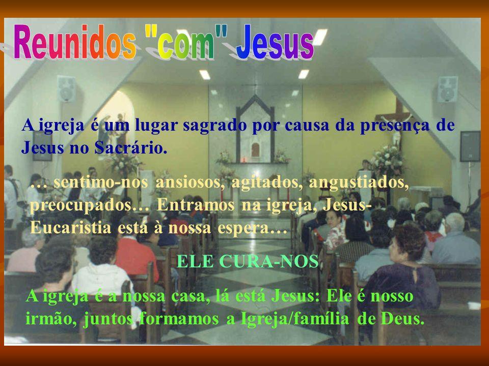 A igreja é um lugar sagrado por causa da presença de Jesus no Sacrário. … sentimo-nos ansiosos, agitados, angustiados, preocupados… Entramos na igreja