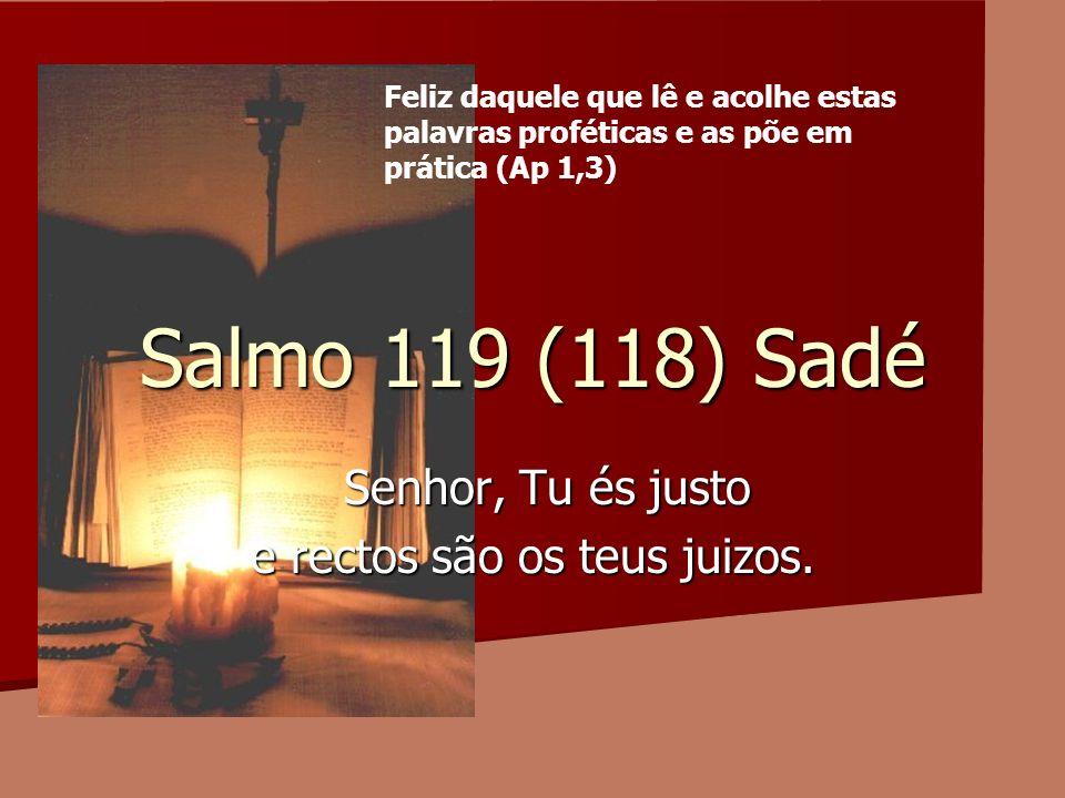 Salmo 119 (118) Sadé Senhor, Tu és justo Senhor, Tu és justo e rectos são os teus juizos. Feliz daquele que lê e acolhe estas palavras proféticas e as