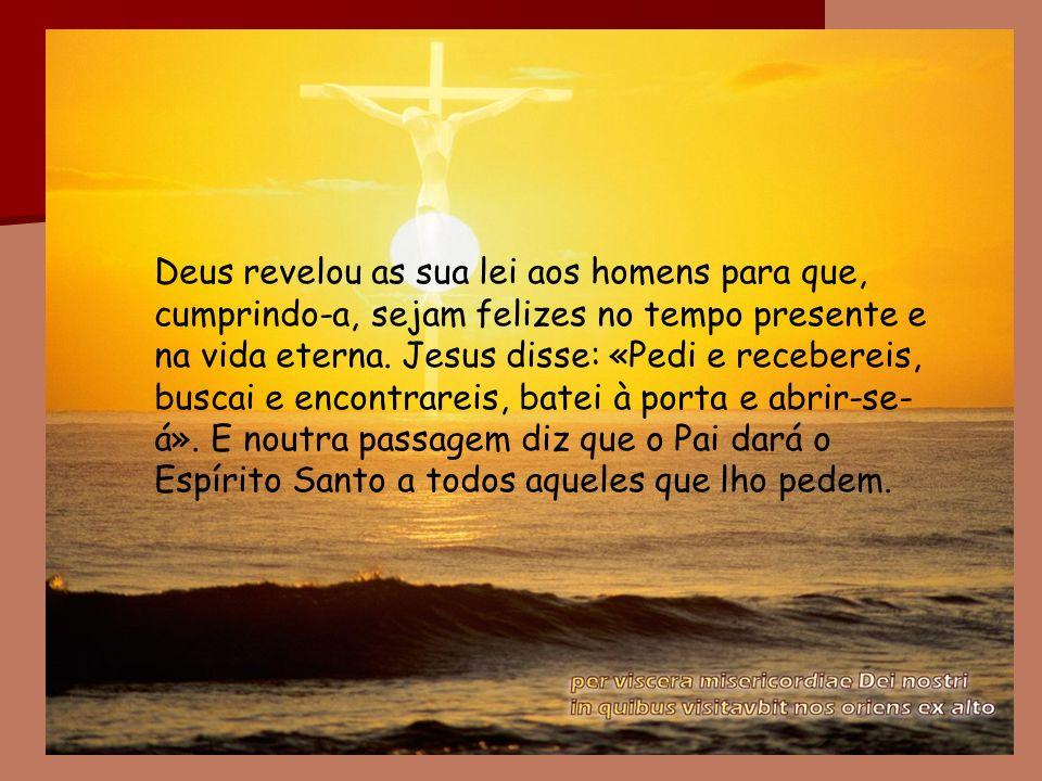Deus revelou as sua lei aos homens para que, cumprindo-a, sejam felizes no tempo presente e na vida eterna. Jesus disse: «Pedi e recebereis, buscai e