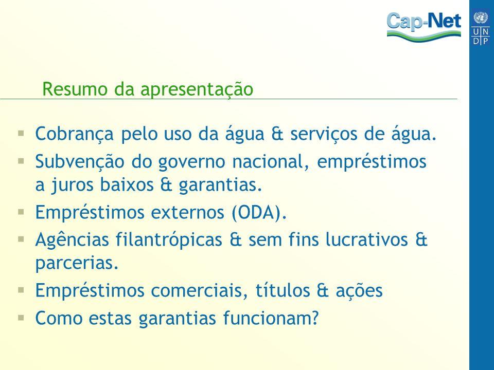 Resumo da apresentação Cobrança pelo uso da água & serviços de água.