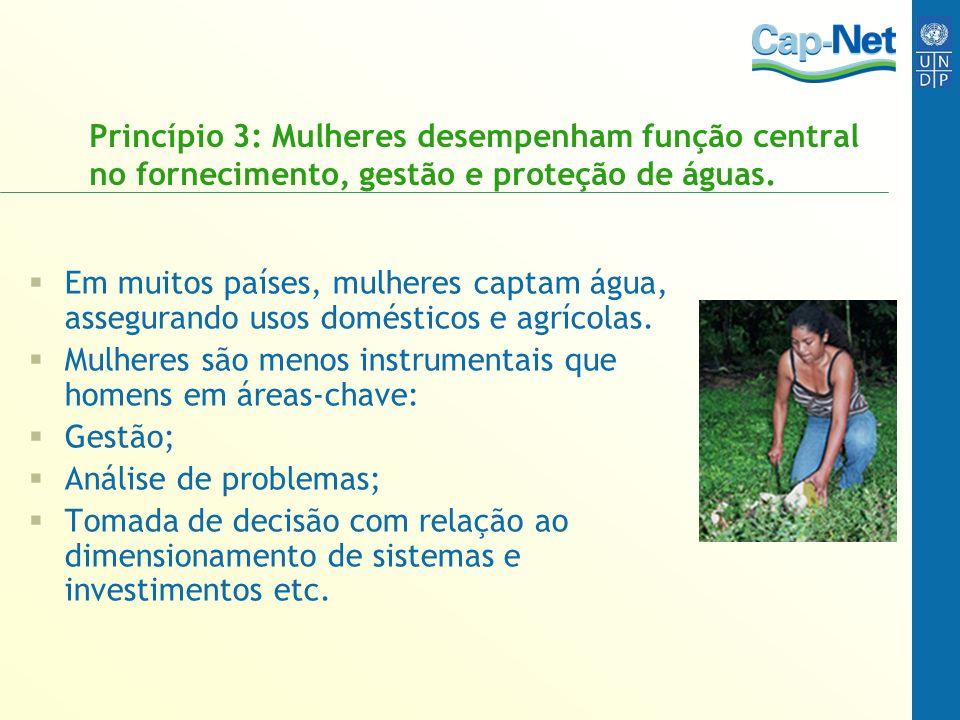 Princípio 3: Mulheres desempenham função central no fornecimento, gestão e proteção de águas. Em muitos países, mulheres captam água, assegurando usos