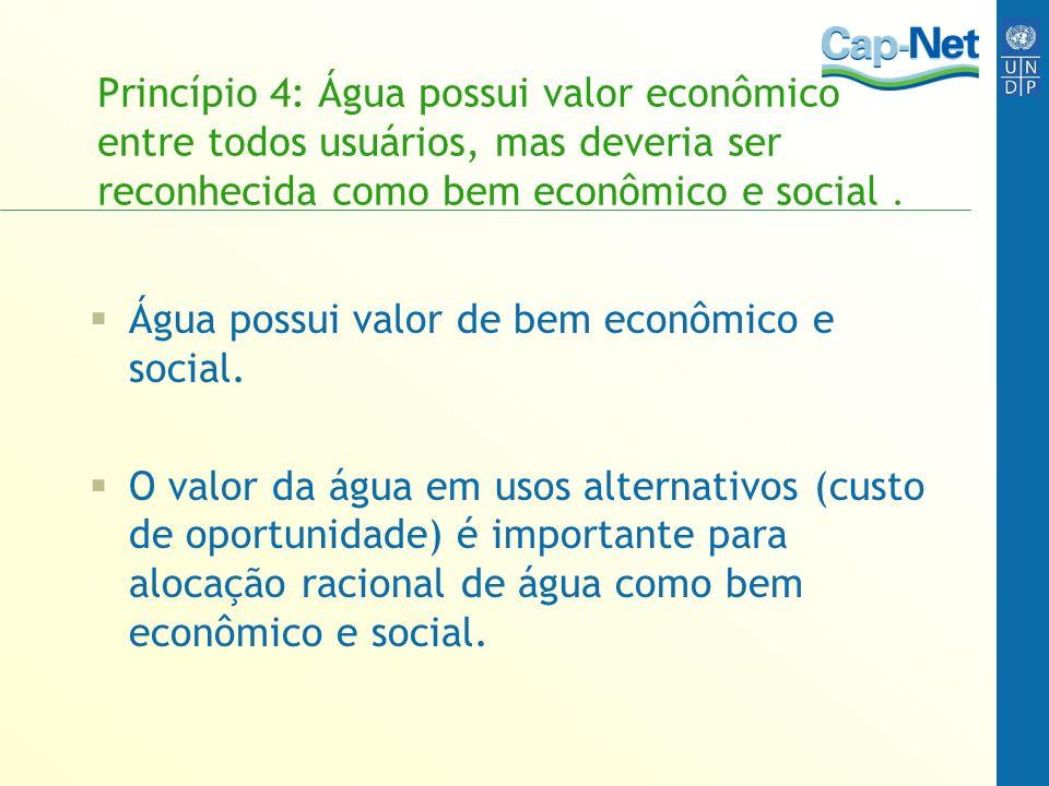 Princípio 4: Água possui valor econômico entre todos usuários, mas deveria ser reconhecida como bem econômico e social. Água possui valor de bem econô