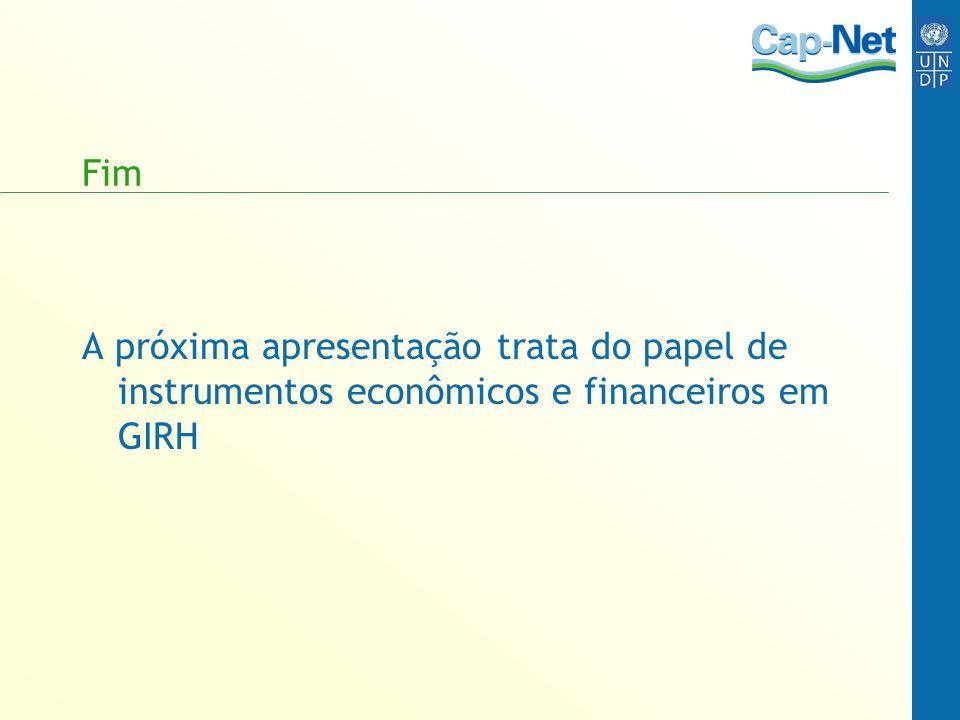 Fim A próxima apresentação trata do papel de instrumentos econômicos e financeiros em GIRH