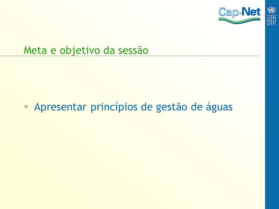 Meta e objetivo da sessão Apresentar princípios de gestão de águas