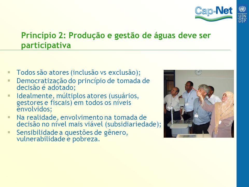 Princípio 2: Produção e gestão de águas deve ser participativa Todos são atores (inclusão vs exclusão); Democratização do princípio de tomada de decis
