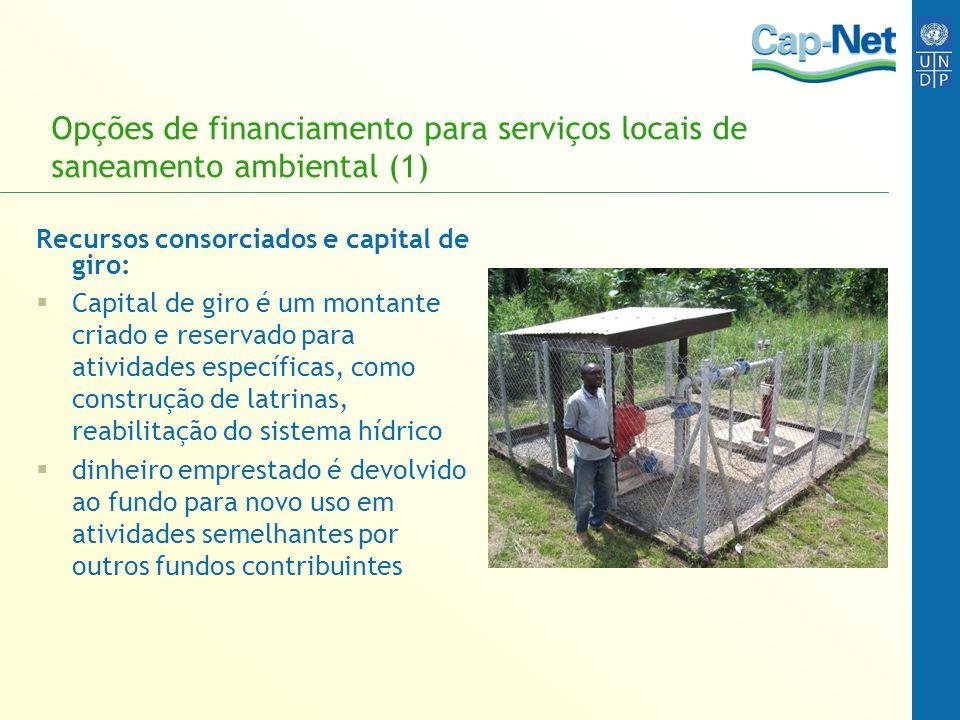 Opções de financiamento para serviços locais de saneamento ambiental (1) Recursos consorciados e capital de giro: Capital de giro é um montante criado