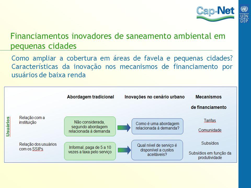 Financiamentos inovadores de saneamento ambiental em pequenas cidades Como ampliar a cobertura em áreas de favela e pequenas cidades? Características