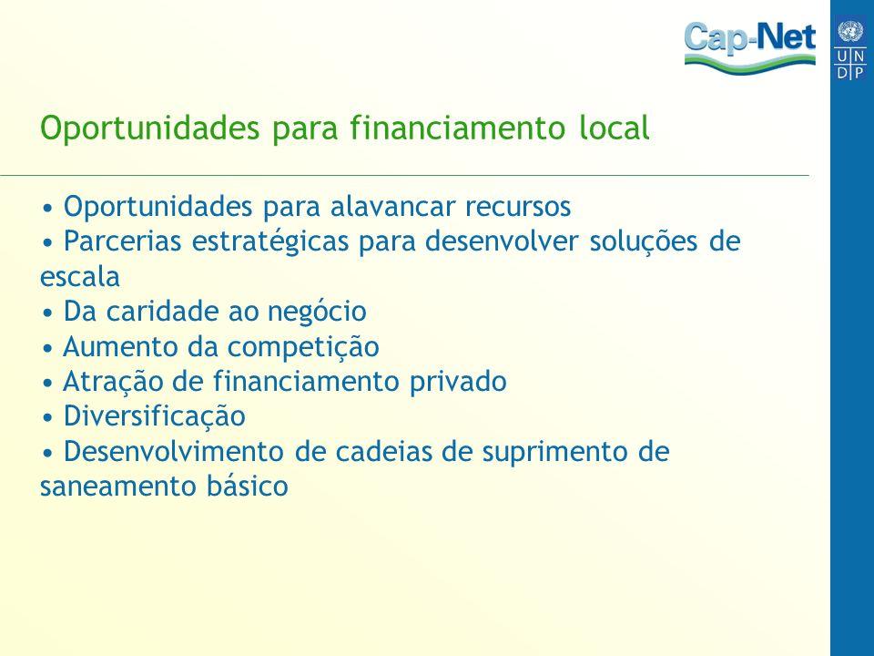 Oportunidades para financiamento local Oportunidades para alavancar recursos Parcerias estratégicas para desenvolver soluções de escala Da caridade ao