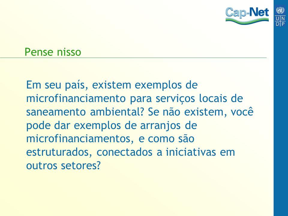 Pense nisso Em seu país, existem exemplos de microfinanciamento para serviços locais de saneamento ambiental? Se não existem, você pode dar exemplos d