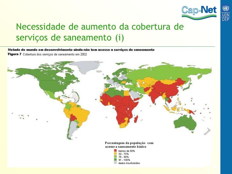 Necessidade de aumento da cobertura de serviços de saneamento (i)
