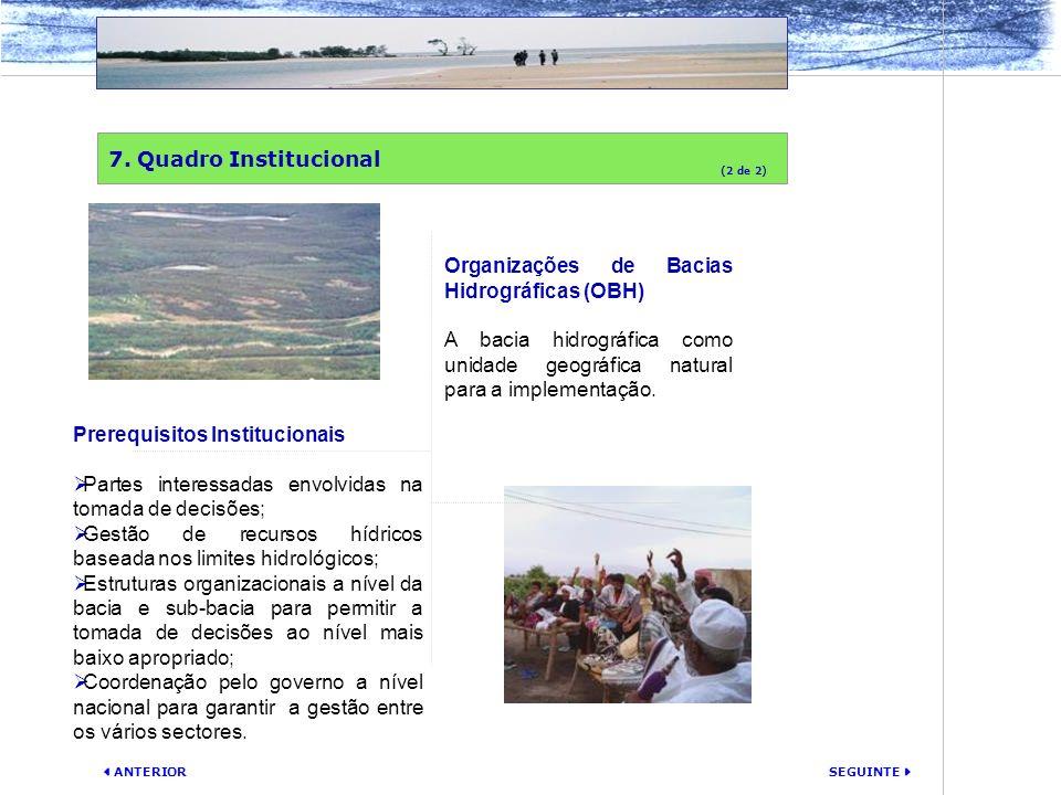 SEGUINTE ANTERIOR Organizações de Bacias Hidrográficas (OBH) A bacia hidrográfica como unidade geográfica natural para a implementação. 7. Quadro Inst