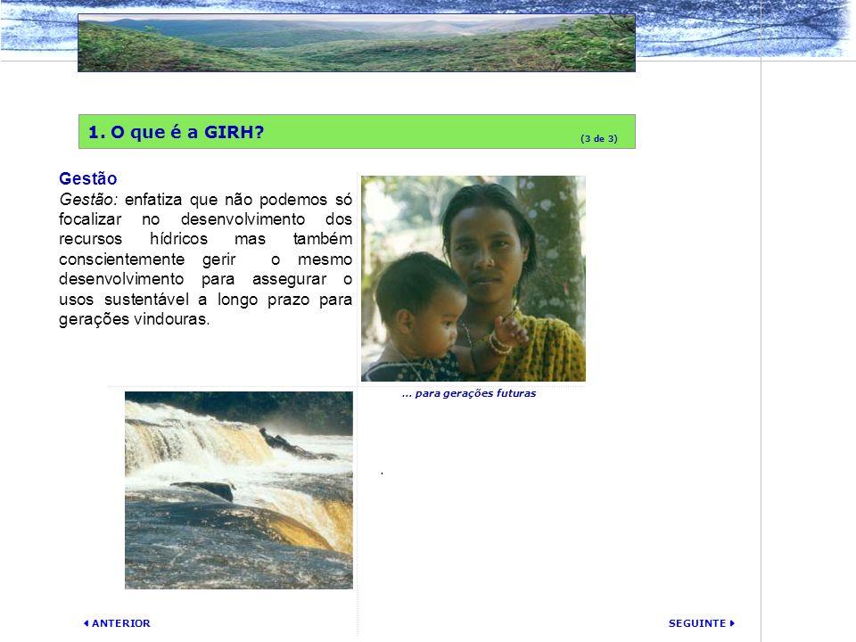 SEGUINTE ANTERIOR Gestão Gestão: enfatiza que não podemos só focalizar no desenvolvimento dos recursos hídricos mas também conscientemente gerir o mes