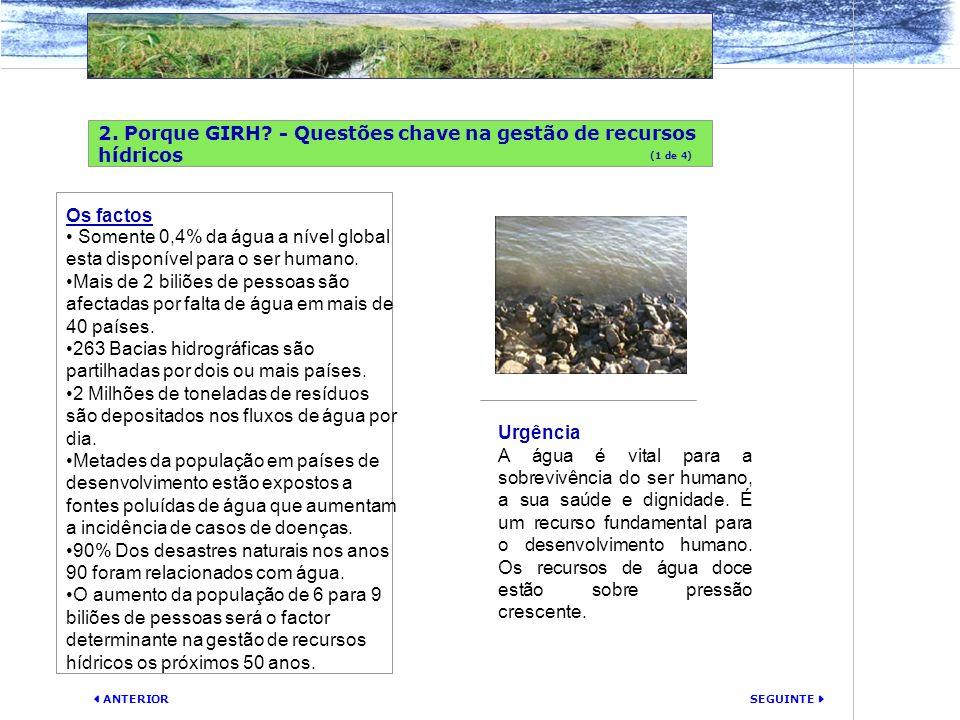 SEGUINTE ANTERIOR 2. Porque GIRH? - Questões chave na gestão de recursos hídricos Urgência A água é vital para a sobrevivência do ser humano, a sua sa