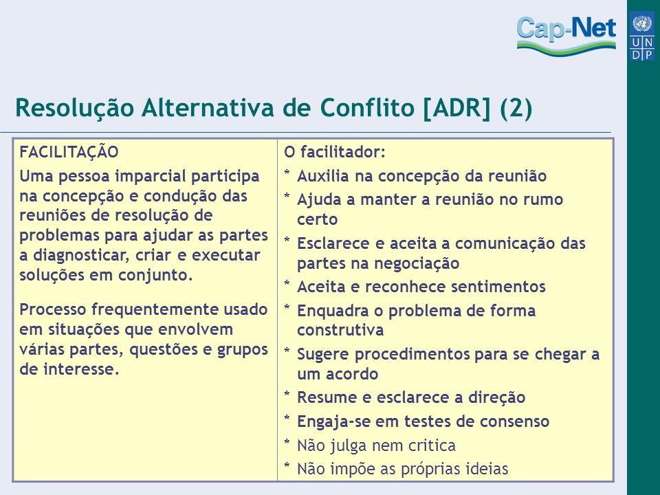 Resolução Alternativa de Conflito [ADR] (2) FACILITAÇÃO Uma pessoa imparcial participa na concepção e condução das reuniões de resolução de problemas