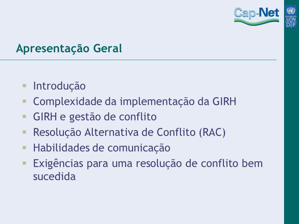 Apresentação Geral Introdução Complexidade da implementação da GIRH GIRH e gestão de conflito Resolução Alternativa de Conflito (RAC) Habilidades de c
