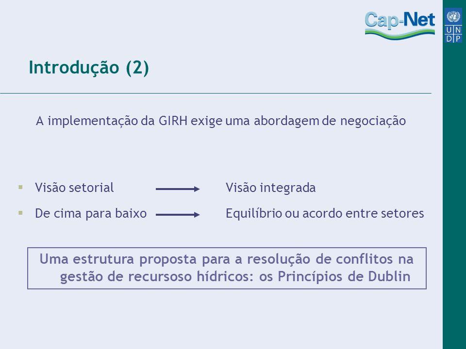 A implementação da GIRH exige uma abordagem de negociação Visão setorial Visão integrada De cima para baixo Equilíbrio ou acordo entre setores Uma est