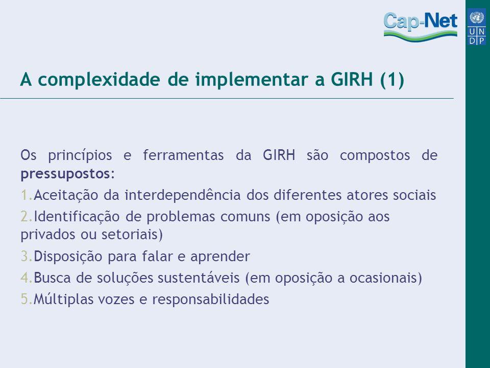 A complexidade de implementar a GIRH (1) Os princípios e ferramentas da GIRH são compostos de pressupostos: 1.Aceitação da interdependência dos difere
