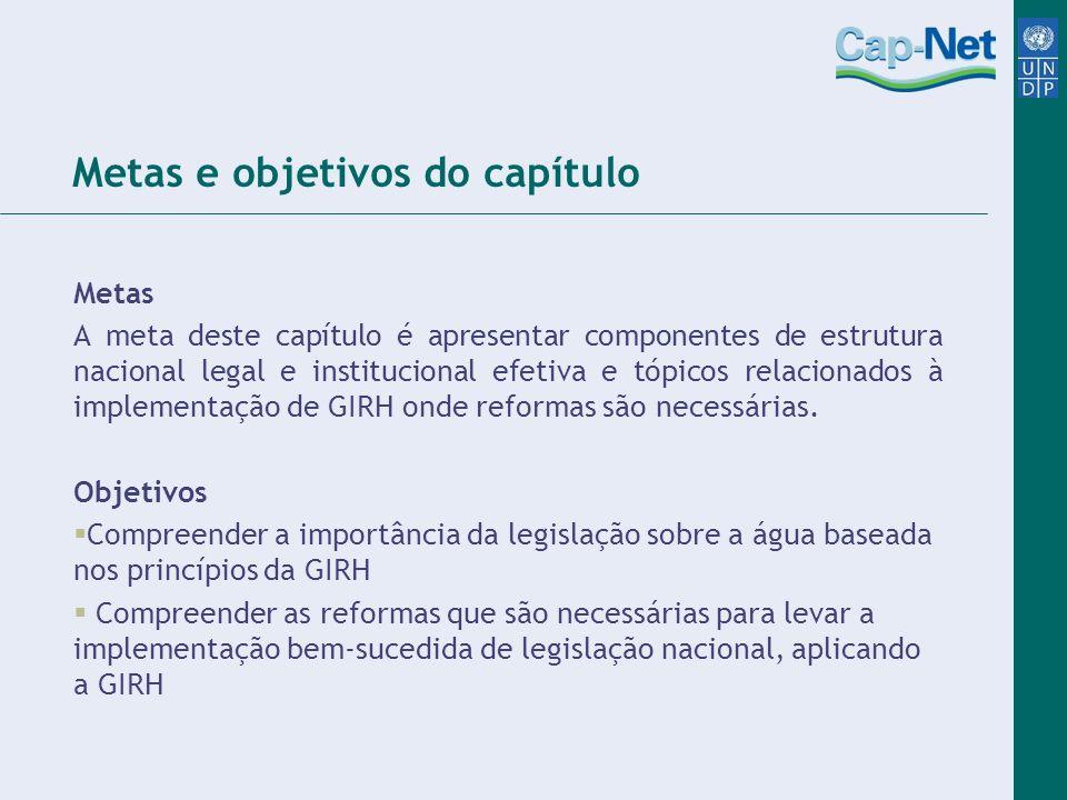 Metas e objetivos do capítulo Metas A meta deste capítulo é apresentar componentes de estrutura nacional legal e institucional efetiva e tópicos relac
