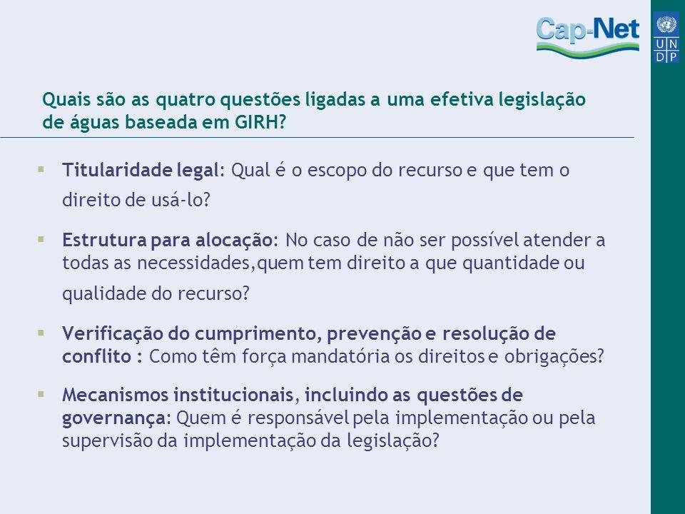 Quais são as quatro questões ligadas a uma efetiva legislação de águas baseada em GIRH? Titularidade legal: Qual é o escopo do recurso e que tem o dir