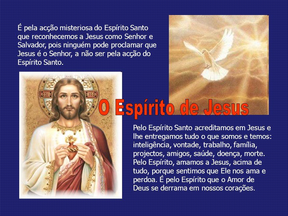 É pela acção misteriosa do Espírito Santo que reconhecemos a Jesus como Senhor e Salvador, pois ninguém pode proclamar que Jesus é o Senhor, a não ser