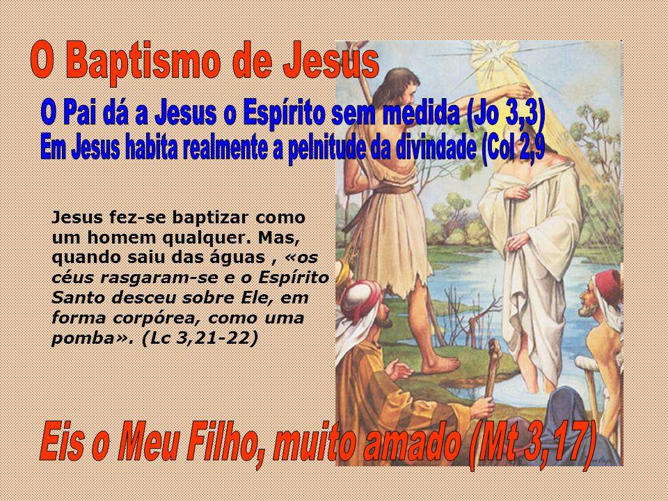 Jesus fez-se baptizar como um homem qualquer. Mas, quando saiu das águas, «os céus rasgaram-se e o Espírito Santo desceu sobre Ele, em forma corpórea,