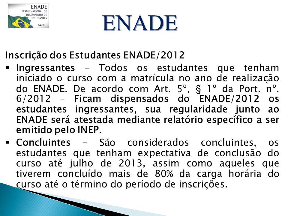 Inscrição dos Estudantes ENADE/2012 Ingressantes – Todos os estudantes que tenham iniciado o curso com a matrícula no ano de realização do ENADE. De a