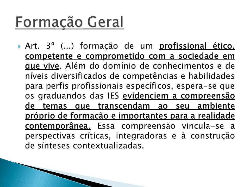 Art. 3º (...) formação de um profissional ético, competente e comprometido com a sociedade em que vive. Além do domínio de conhecimentos e de níveis d