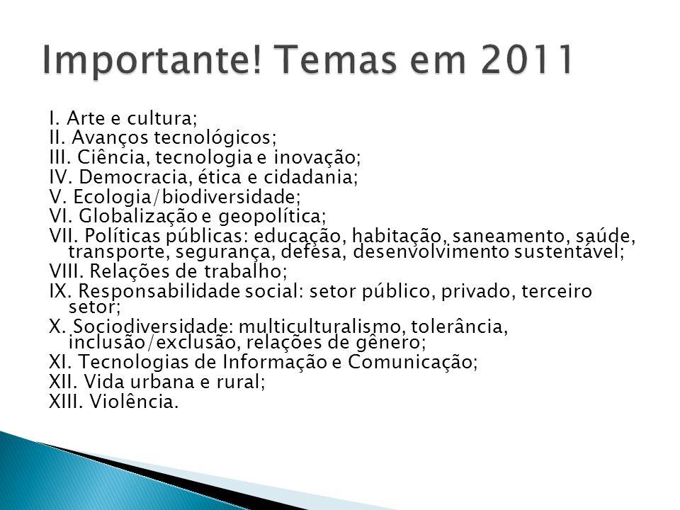 I. Arte e cultura; II. Avanços tecnológicos; III. Ciência, tecnologia e inovação; IV. Democracia, ética e cidadania; V. Ecologia/biodiversidade; VI. G