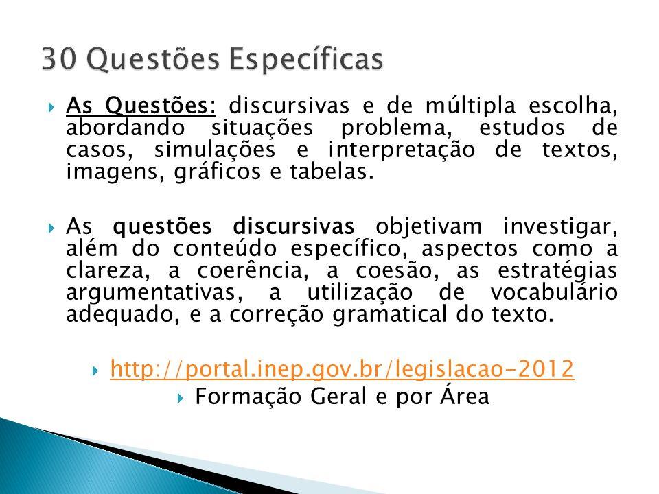 As Questões: discursivas e de múltipla escolha, abordando situações problema, estudos de casos, simulações e interpretação de textos, imagens, gráfico