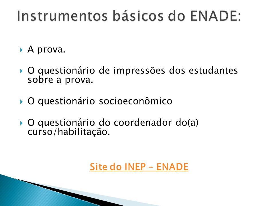 A prova. O questionário de impressões dos estudantes sobre a prova. O questionário socioeconômico O questionário do coordenador do(a) curso/habilitaçã