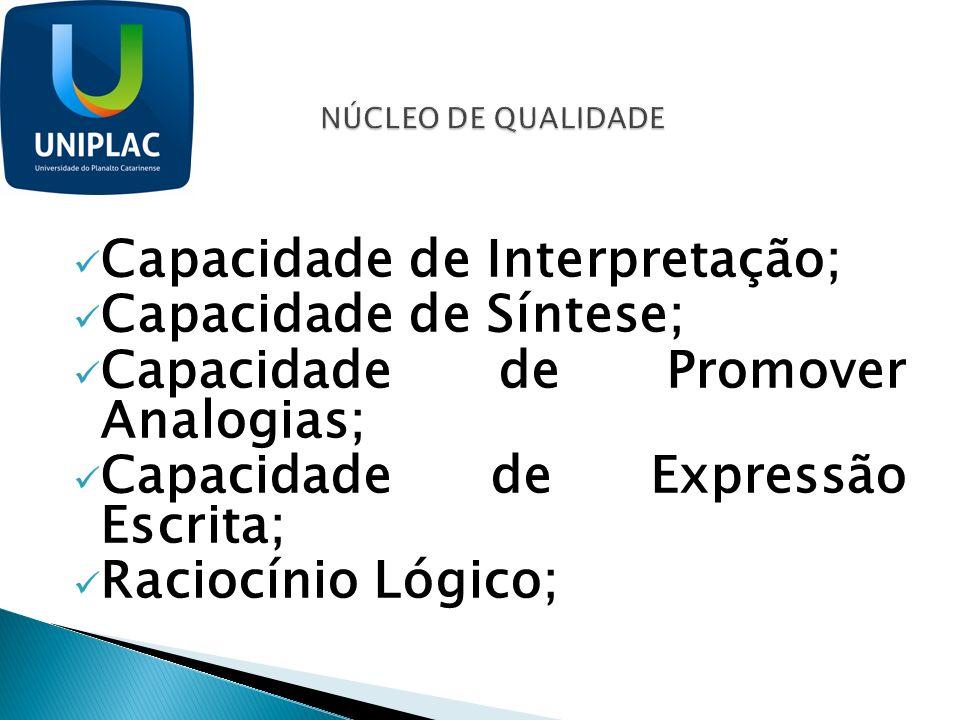 Capacidade de Interpretação; Capacidade de Síntese; Capacidade de Promover Analogias; Capacidade de Expressão Escrita; Raciocínio Lógico;