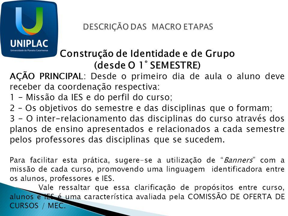 Construção de Identidade e de Grupo (desde O 1 º SEMESTRE) AÇÃO PRINCIPAL: Desde o primeiro dia de aula o aluno deve receber da coordenação respectiva