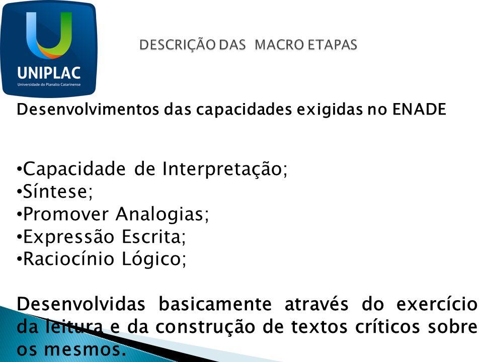 Desenvolvimentos das capacidades exigidas no ENADE Capacidade de Interpretação; Síntese; Promover Analogias; Expressão Escrita; Raciocínio Lógico; Des