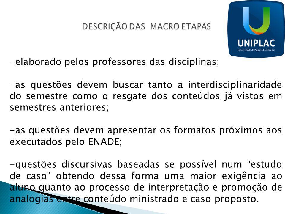 -elaborado pelos professores das disciplinas; -as questões devem buscar tanto a interdisciplinaridade do semestre como o resgate dos conteúdos já vist