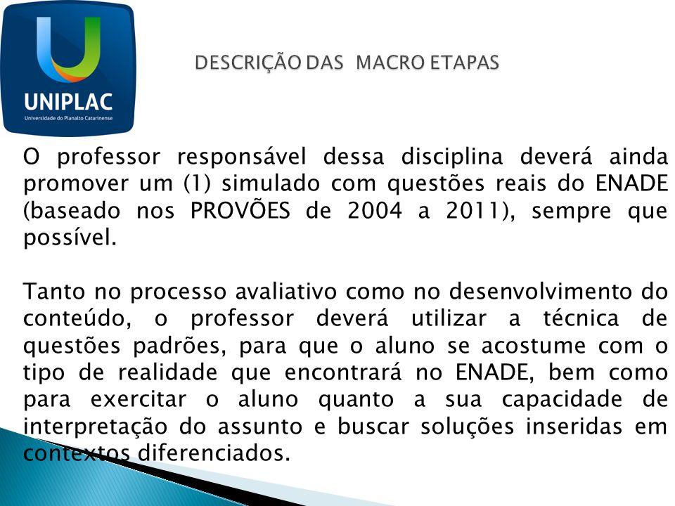 O professor responsável dessa disciplina deverá ainda promover um (1) simulado com questões reais do ENADE (baseado nos PROVÕES de 2004 a 2011), sempr