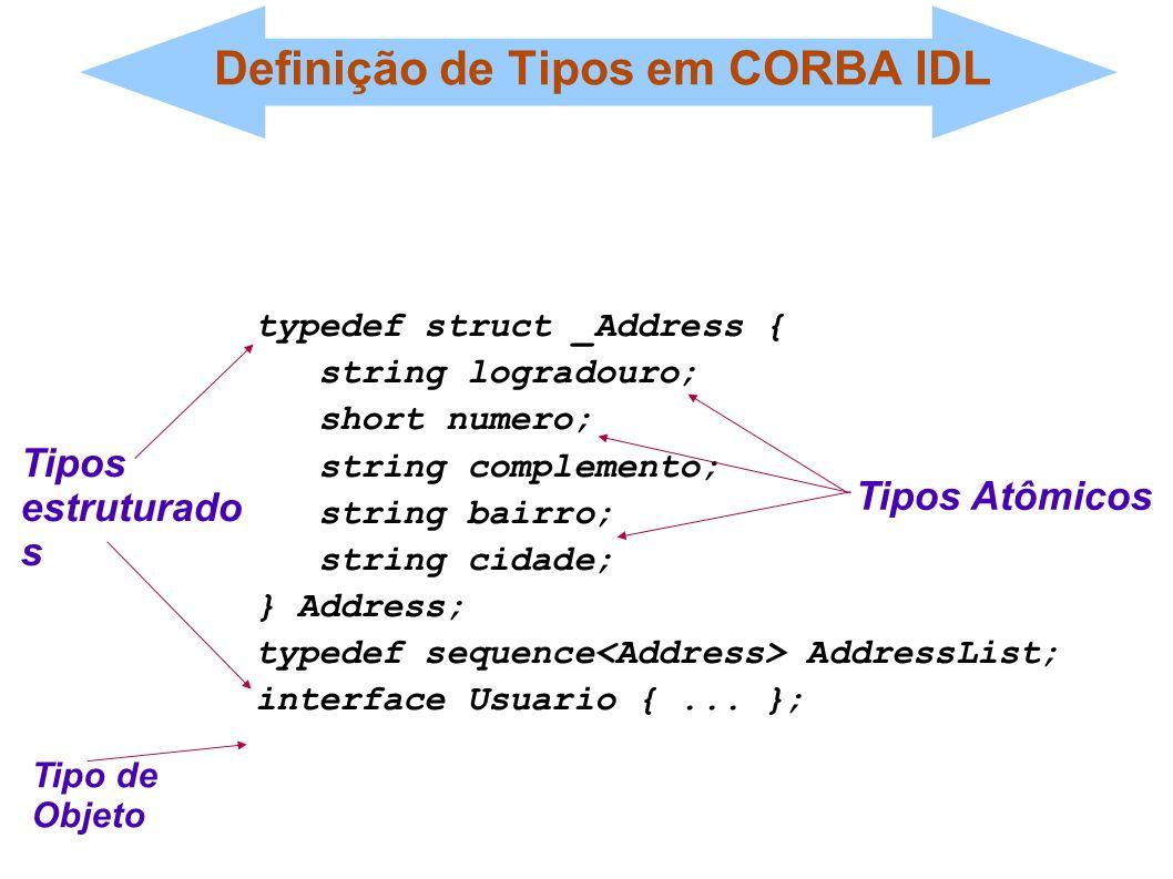 Definição de Tipos em CORBA IDL typedef struct _Address { string logradouro; short numero; string complemento; string bairro; string cidade; } Address