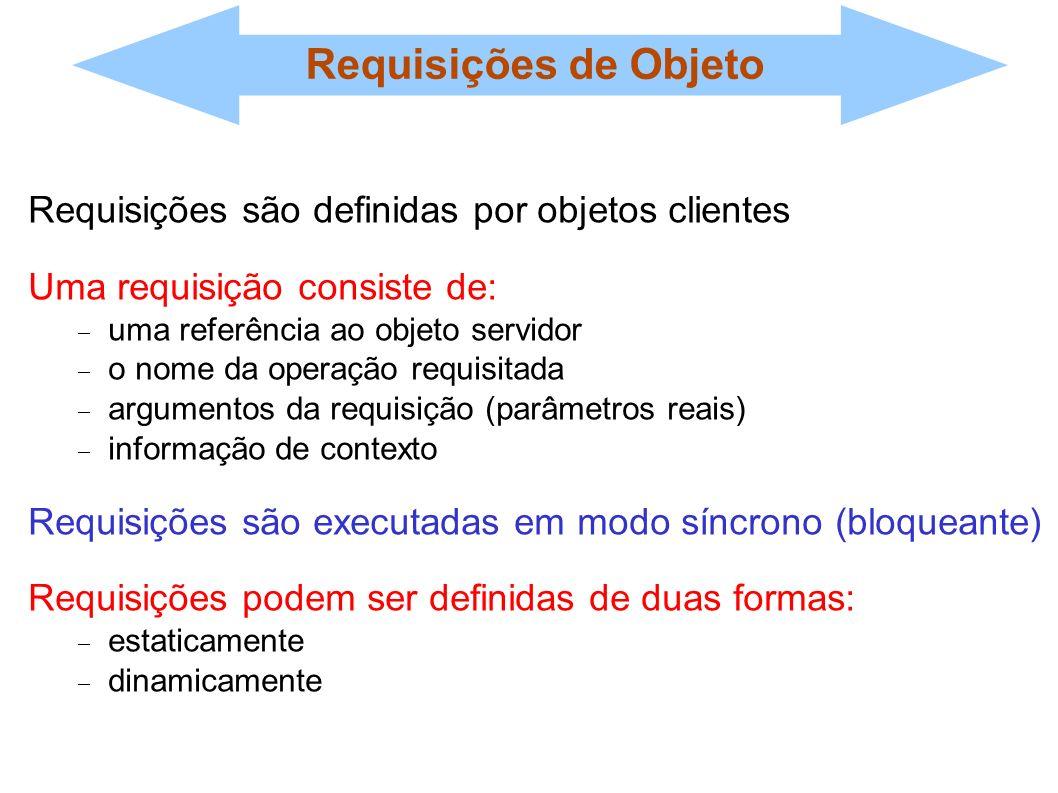 Requisições de Objeto Requisições são definidas por objetos clientes Uma requisição consiste de: uma referência ao objeto servidor o nome da operação
