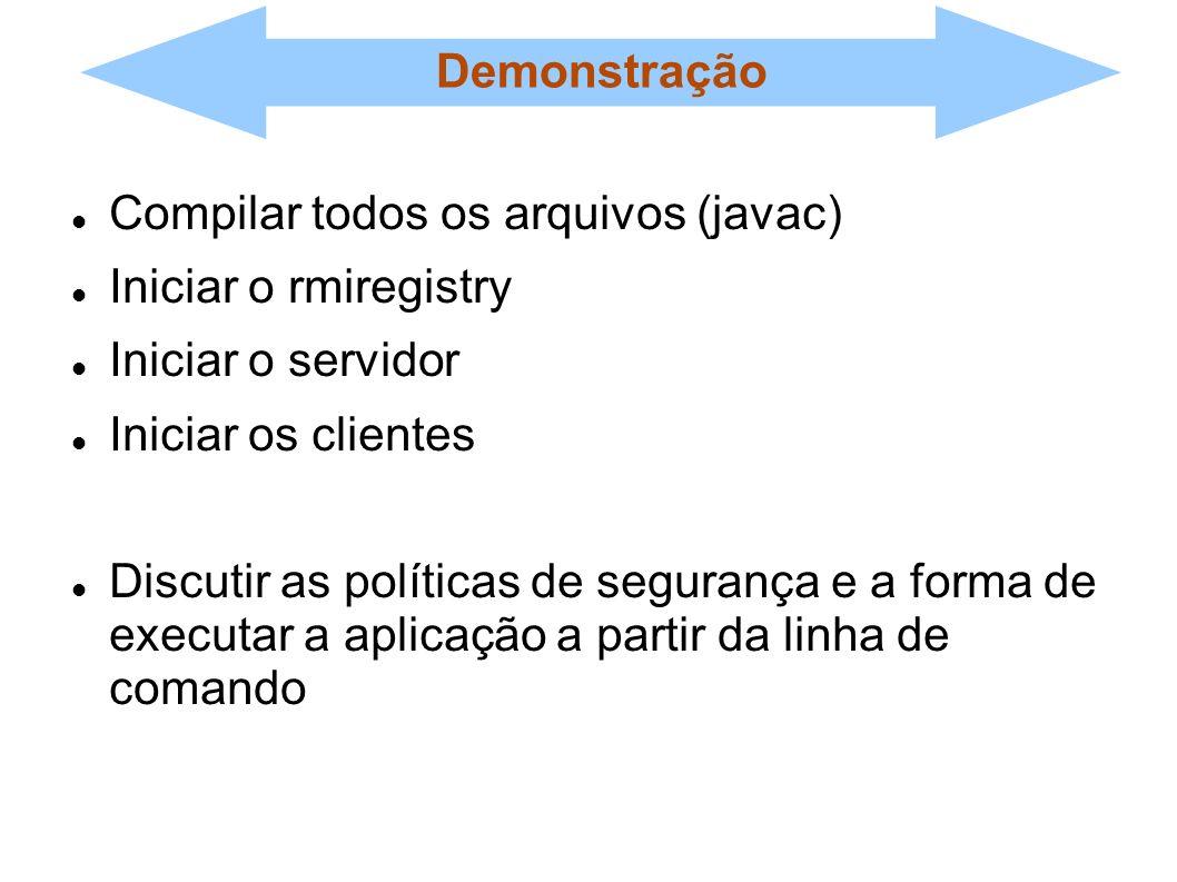 Demonstração Compilar todos os arquivos (javac) Iniciar o rmiregistry Iniciar o servidor Iniciar os clientes Discutir as políticas de segurança e a fo