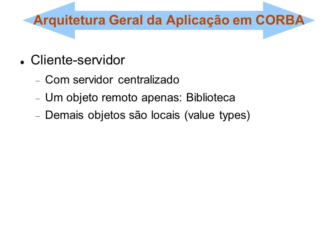 Arquitetura Geral da Aplicação em CORBA Cliente-servidor Com servidor centralizado Um objeto remoto apenas: Biblioteca Demais objetos são locais (valu