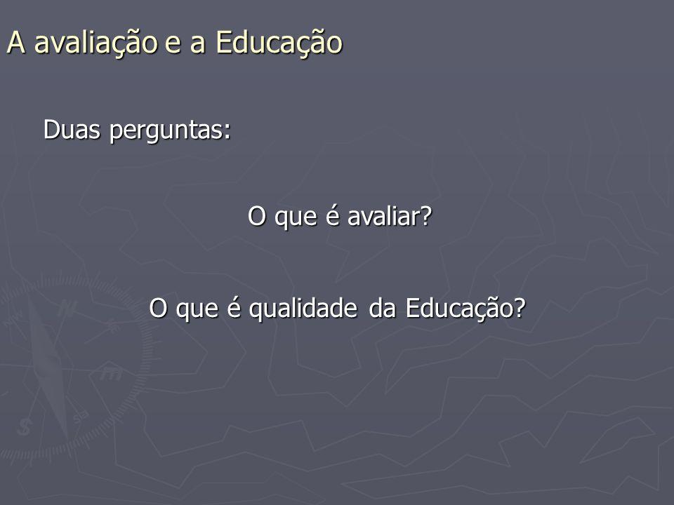 A avaliação e a Educação Duas perguntas: O que é avaliar O que é qualidade da Educação
