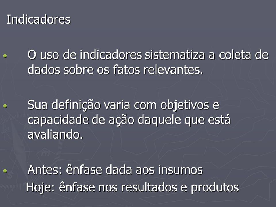 Indicadores Indicadores O uso de indicadores sistematiza a coleta de dados sobre os fatos relevantes.