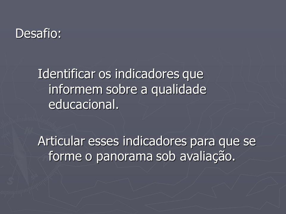 Desafio: Identificar os indicadores que informem sobre a qualidade educacional.
