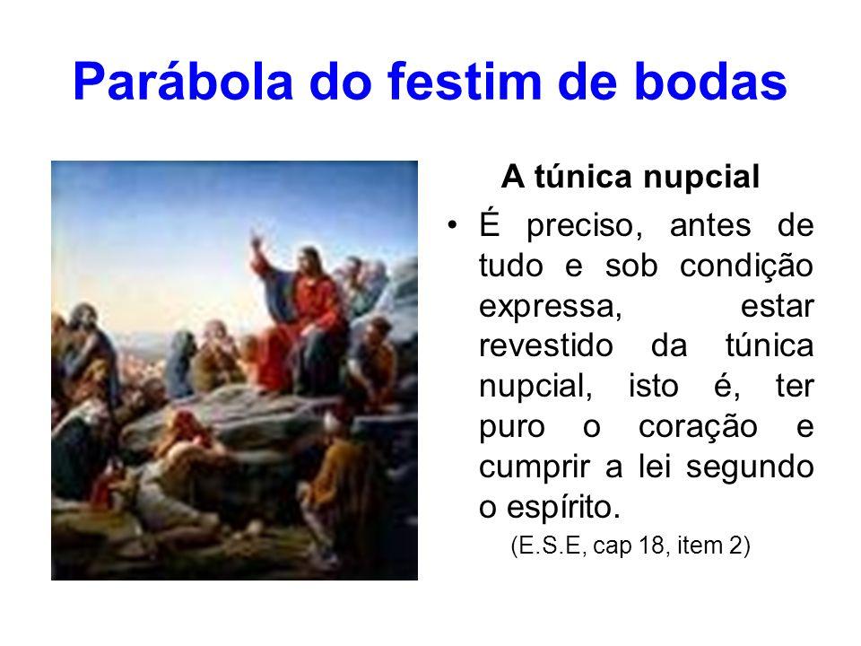 Parábola do festim de bodas...a lei toda se contém nestas palavras: Fora da caridade não há salvação.