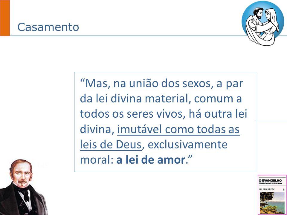 Casamento Mas, na união dos sexos, a par da lei divina material, comum a todos os seres vivos, há outra lei divina, imutável como todas as leis de Deus, exclusivamente moral: a lei de amor.